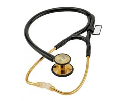 MDF ERプレミア カーディオロジーステンレススチールデュアルヘッド成人用ー小児用聴診器 - 22Kゴールドとブラック (MDF797DDK11) 成人用カーディオロジーベル交換用アタッチメント付