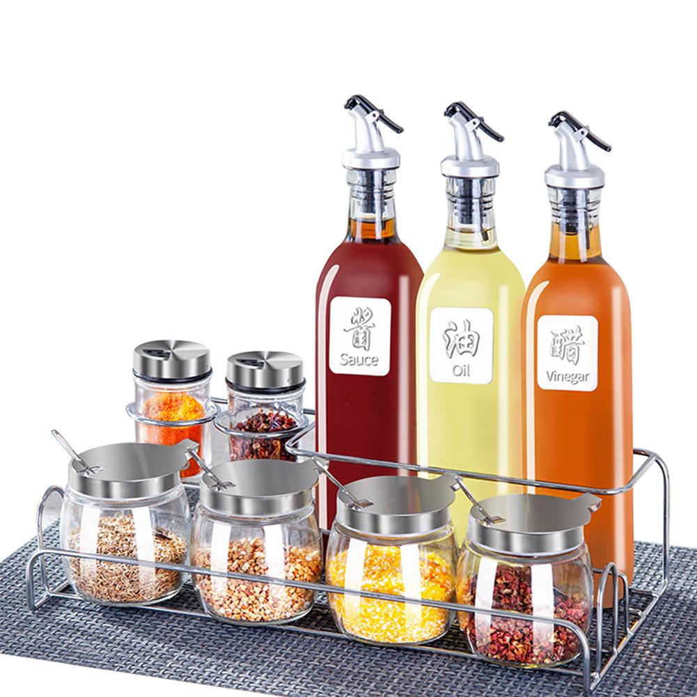 調味料入れ お店 家庭 キッチン用 ラック付き おしゃれ スパイス ガラス 塩砂糖入れ 調味料容器 調味料ボトル 調味料ケース 瓶 トレー セット