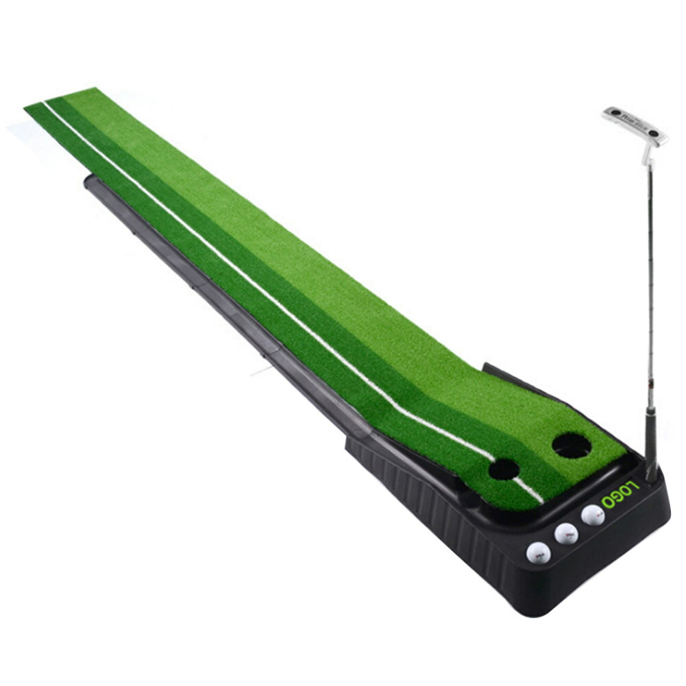 ゴルフ パター練習 マット ボールが帰ってくるゴルフ練習用 パターマット パッティングマット 2ホールタイプ 3m