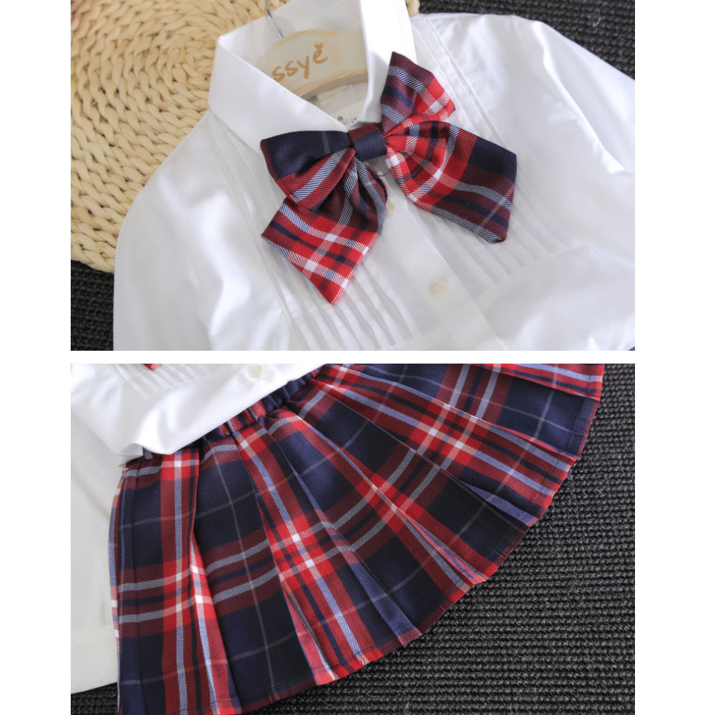 It is society, direction clothes child suit set spring and summer on a  child uniform top and bottom set four circle school uniform white shirt  check