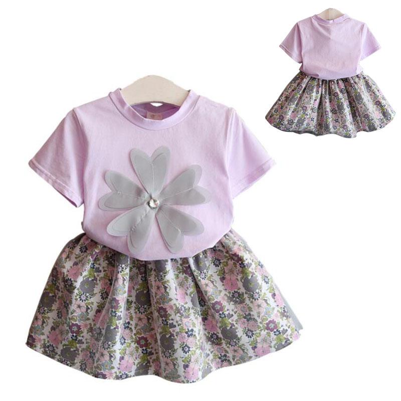 子供服 女の子 子供 短袖シャツ スカート 上下2点セット 子供服 可愛い 春夏  トップス ベビートップス 可愛らしさ満載  ベビー服