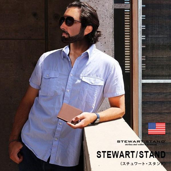 STEWART/STAND(スチュワート・スタンド)二つ折り財布・レザー : 財布 メンズ ステンレス スキミング防止 スリム 薄い 軽い 軽量 プレゼント ギフト