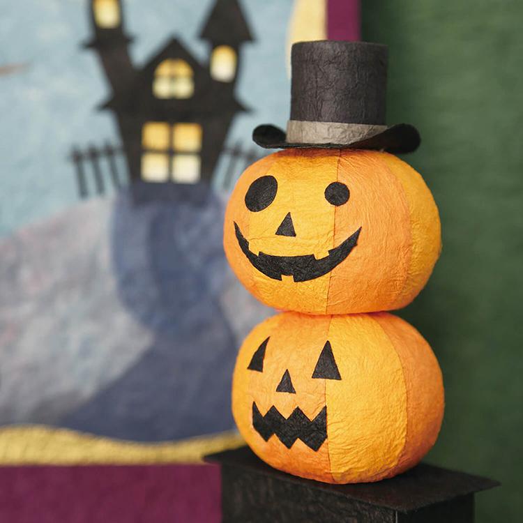 めでたや和紙 新品 送料無料 かぼちゃ ランタン 受注生産品 パンプキン ハロウィン 置物