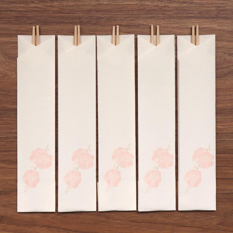 めでたやお正月のしつらえに 激安超特価 和紙のテーブルウェア 梅 丸箸5膳入 箸包み 直営限定アウトレット