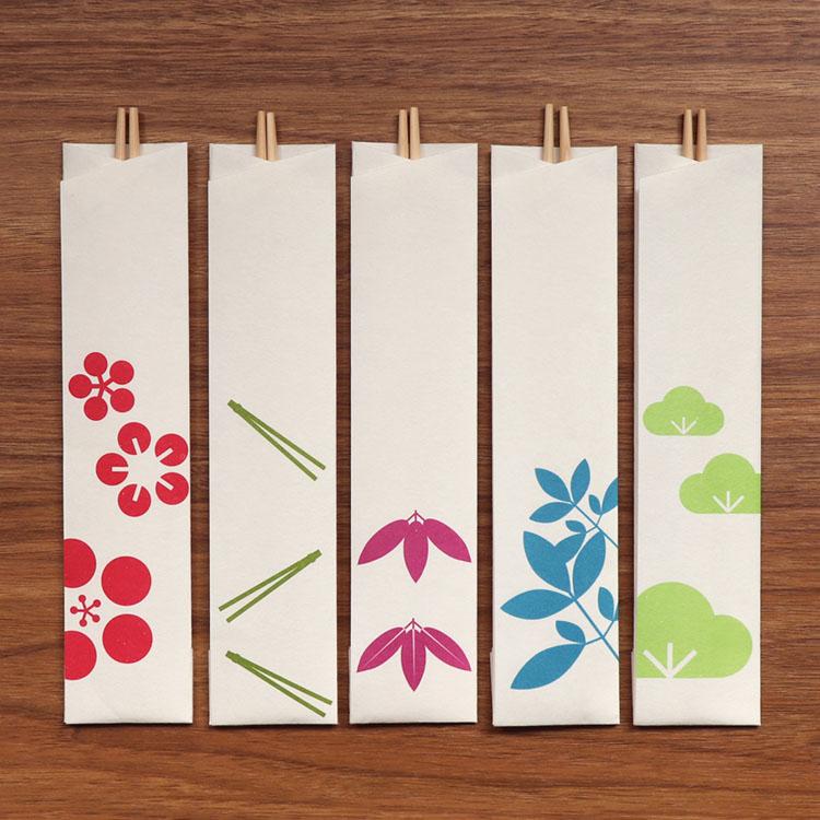 めでたやお正月のおせちやお祝いの席に 和紙の包みの祝い箸 南天松竹梅 箸包み5膳入