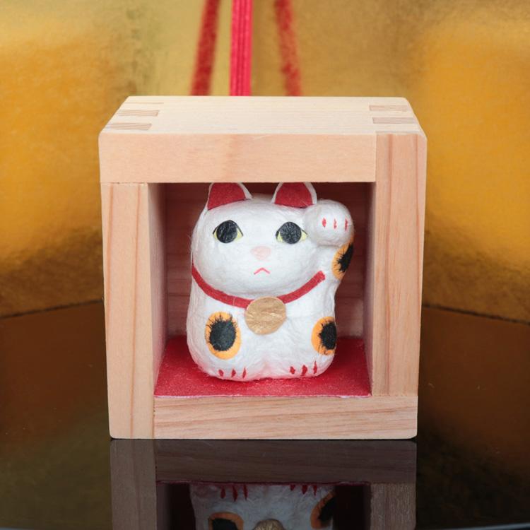 めでたや和紙の置き飾り・置物合格祈願・お祝いごと・お年賀・お歳暮に 福ます 招き猫