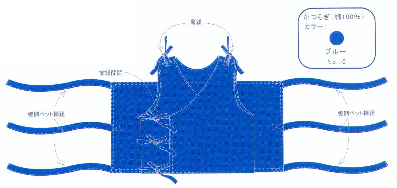 セフティジャケット(抑制帯) Y1ヒモ ブルー 1枚