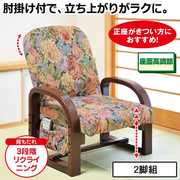リクライニング 立ち座りラクラク座椅子<2脚組>