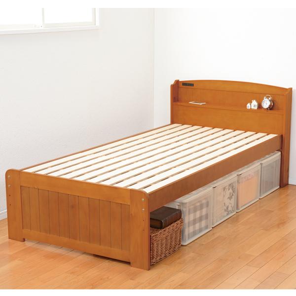 高さが調節できる 棚付すのこベッド<シングル>