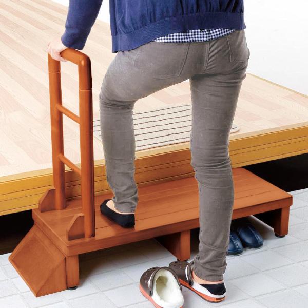天然木手すり付玄関台<片側・幅100>