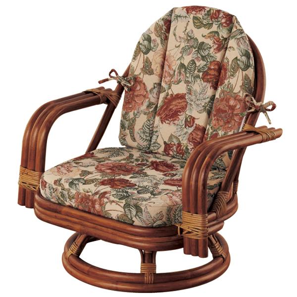 籐ゆったり回転座椅子<ミドルタイプ>