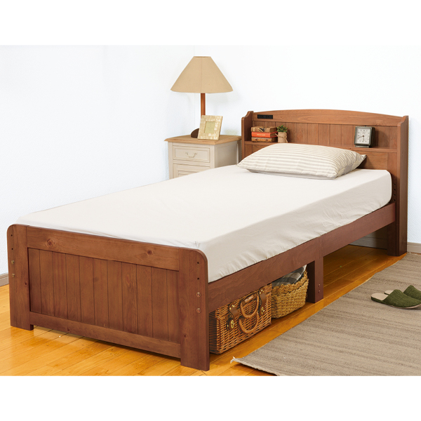 高さが2段階調節できる棚付すのこベッド<セミダブル>