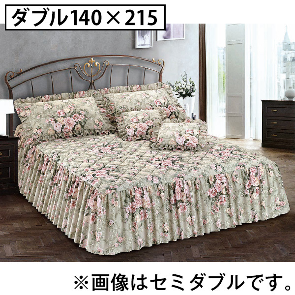 イタリア製ローズデザイン ベッドスプレッド<ダブル140×215>