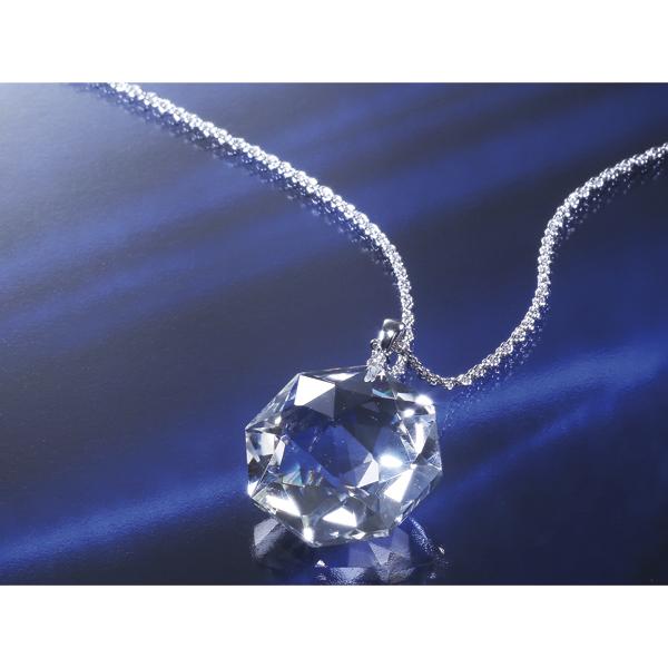 八角天然水晶35ctダイヤ入りペンダント