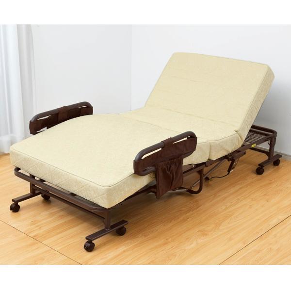 組立不要 手すりをつかみやすい電動ベッド<ポケットコイル>