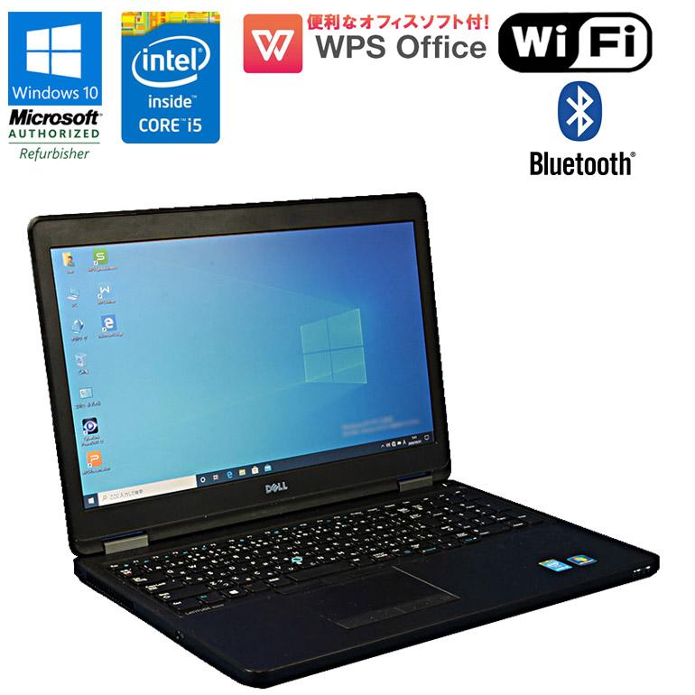 WPS Office付 【中古】 ノートパソコン DELL LATITUDE E5550 Windows10 Core i5 5200U 2.20GHz メモリ4GB HDD500GB ドライブレス HDMI Bluetooth USB3.0 初期設定済 送料無料(一部地域を除く)