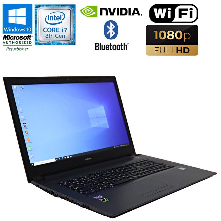 Windows10 中古パソコン NEC 17.3インチの大型画面 高画質フルHD対応 第8世代Core i7 WEBカメラ搭載 90日保証 送料無料 ※一部地域を除く 限定1台 中古 ノートパソコン mouse computer WEBカメラ GeForce HDD500GB GTX1050 100%品質保証! 無線LAN Bluetooth 初期設定済 中古ノート 17.3型 2.20GHz ショップ m-Book Core フルHD MB-W880BN-A メモリ8GB 8750H