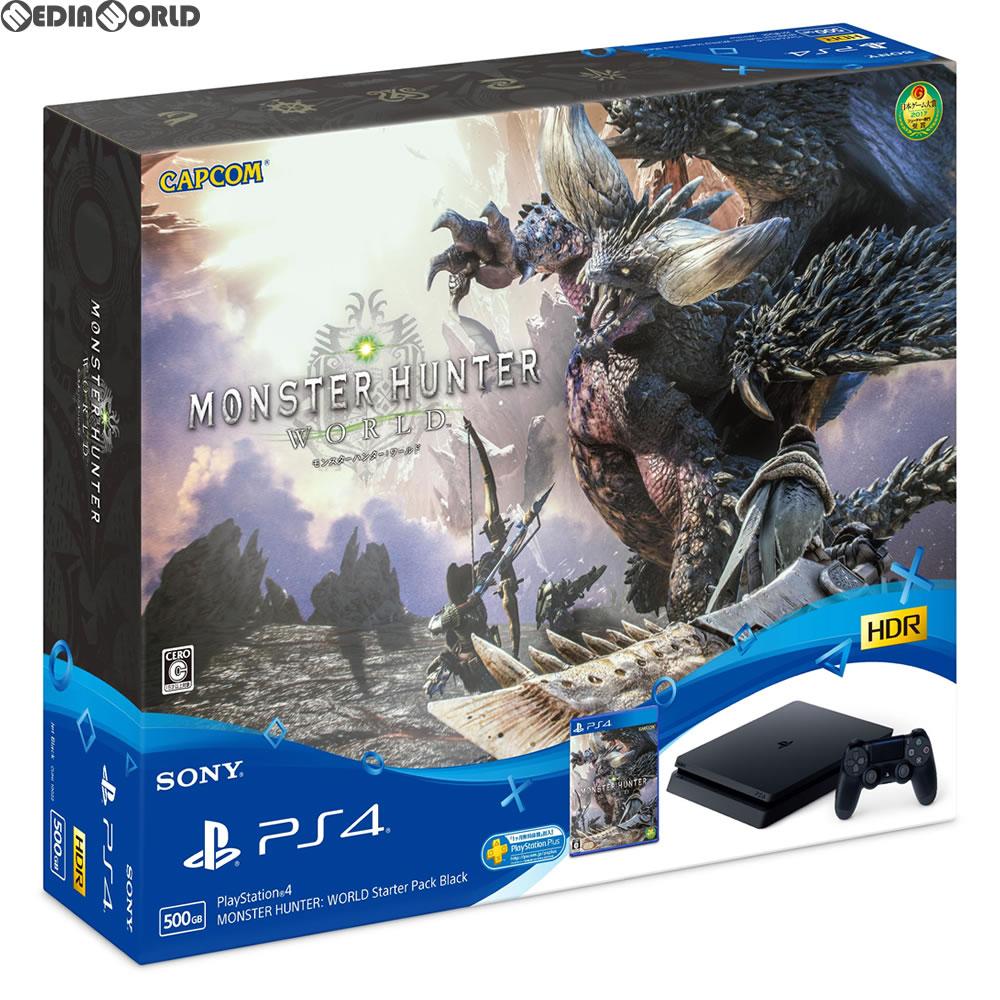 【中古】[本体][PS4]プレイステーション4 PlayStation4 MONSTER HUNTER: WORLD Starter Pack Black(モンスターハンター:ワールド スターターパック ブラック)(CUHJ-10022)(20180126)