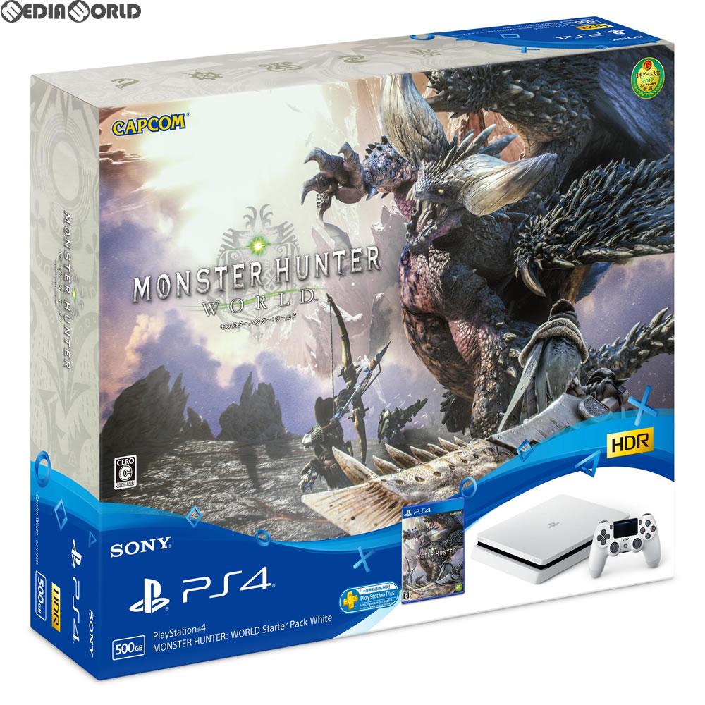 【中古】[本体][PS4]プレイステーション4 PlayStation4 MONSTER HUNTER: WORLD Starter Pack White(モンスターハンター:ワールド スターターパック ホワイト)(CUHJ-10023)(20180126)