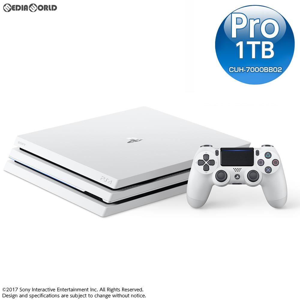 【中古】[本体][PS4]モノラルヘッドセット無し プレイステーション4 プロ PlayStation4 Pro グレイシャー・ホワイト 1TB(CUH-7000BB02)(20170906)