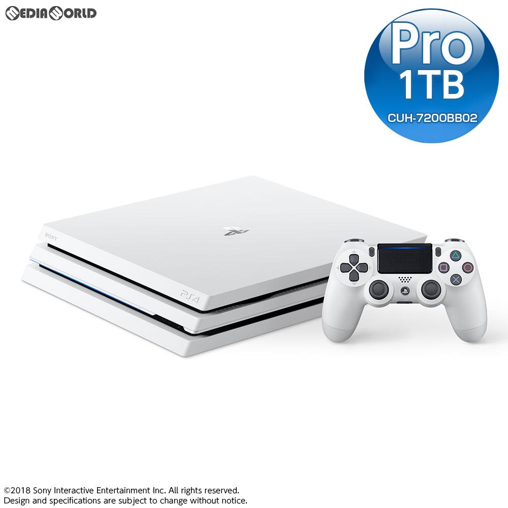 【中古】[本体][PS4]プレイステーション4 プロ PlayStation4 Pro グレイシャー・ホワイト 1TB(CUH-7200BB02)(20181012)