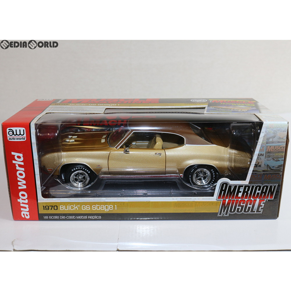 【中古】[FIG]1/18 1970 Buick Skylark(ビュイック スカイラーク) GS Hemmings Muscle Machines(ゴールド) 完成品 ミニカー(AMM1105) AMERICAN MUSCLE(アメリカンマッスル)(20180331)