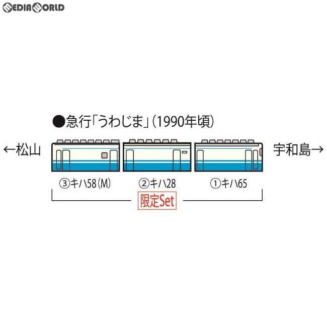 【新品】【O倉庫】[RWM]97907 限定品 JR キハ58系急行ディーゼルカー(うわじま・JR四国色)セット(3両) Nゲージ 鉄道模型 TOMIX(トミックス)(20190627)