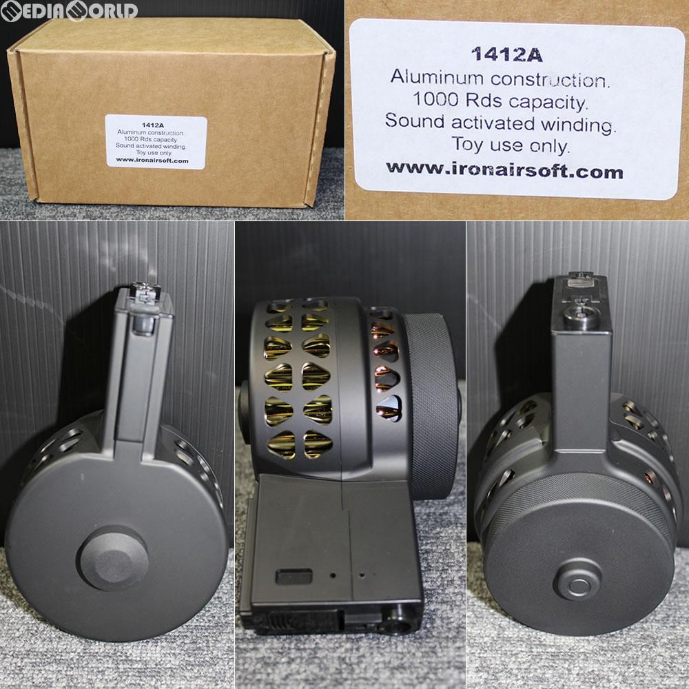 【新品即納】[MIL]IRON AIRSOFT(アイアンエアソフト) M4/M16用 Xproducts(Xプロダクツ) X-15スタイル 音感電動ドラムマガジン 1000連 BK(ブラック/黒)(1412a-1)(20180413)