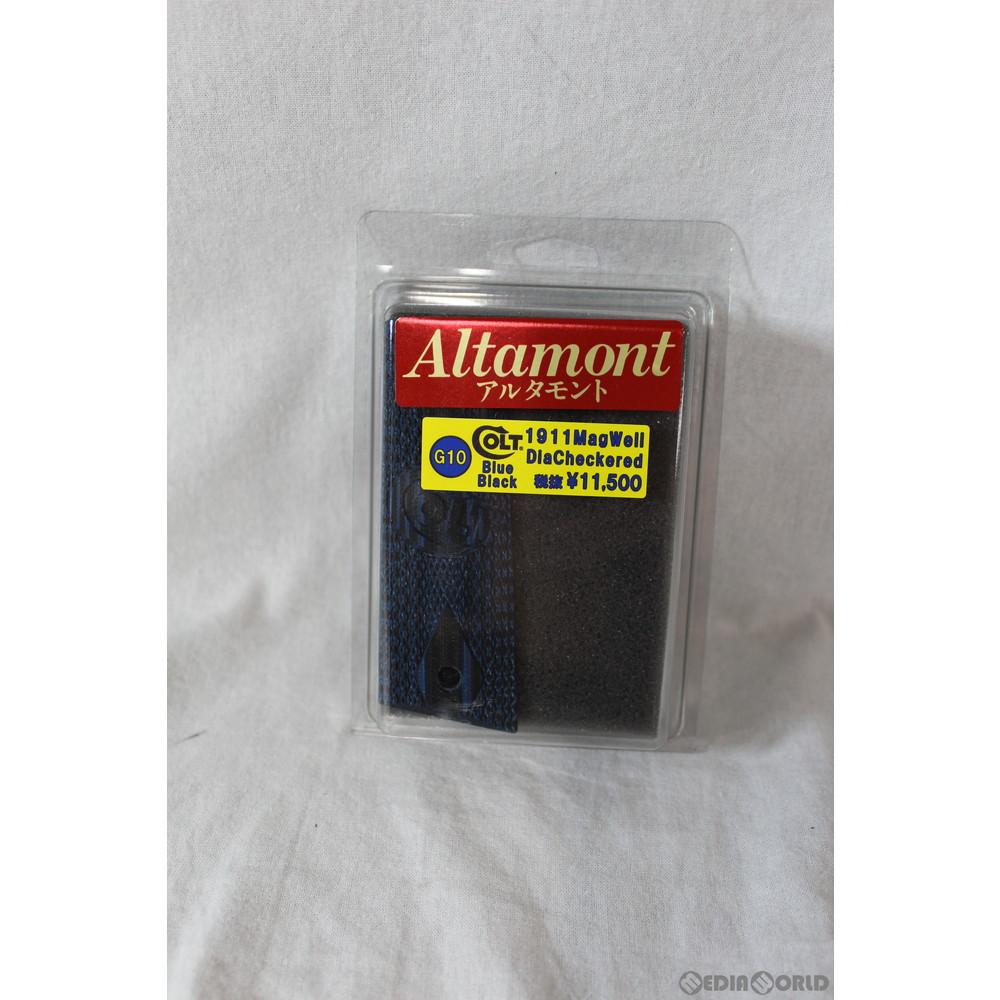 【新品即納】[MIL]Altamont(アルタモント) 1911用 G10 ダイヤチェッカー マグウェルグリップ 木製グリップ コルトロゴ入り ブルーブラック(20191022)