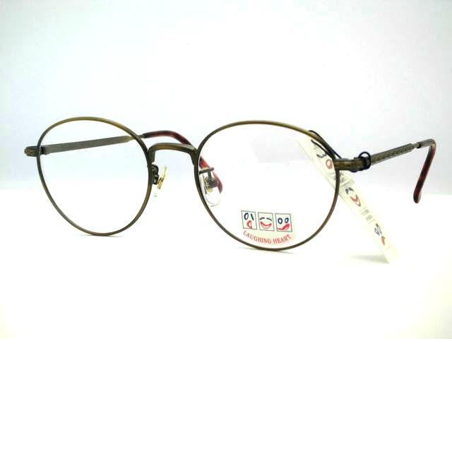 日本製 ボストン型彫金メガネ ボストンメガネ飾りフレーム ラフィングハート・6606