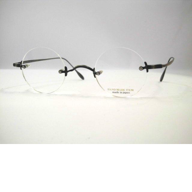 日本製ハンドメイド丸眼鏡 一山ラウンドメガネ ツーポイント丸めがね ふちなし丸メガネ・NOVA3037