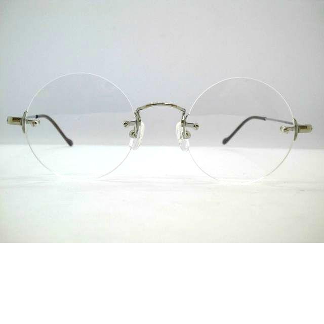 ツーポイント真円丸めがね UNION 日本製 ATLANTIC・UA3613A 軽量チタンフチなし丸型フレーム フチなし丸メガネ