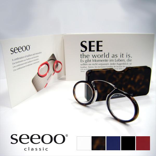 【コンパクトリーディンググラス】 SEEOO(シーオ) おしゃれ リーディンググラス 老眼鏡 シニアグラス ルーペ メガネ 丸 男性 女性 メンズ レディース ギフト プレゼント モダン メガネ ブランド 鼻メガネ 鼻眼鏡 レトロ