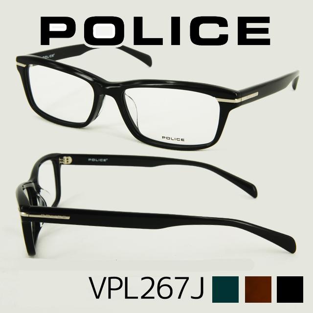 【POLICE(ポリス)メガネセット】 人気のウェリントンシェイプのデザインに、フロントサイドからテンプルにサイドにかけてメタルパーツを埋め込んだデザインが特徴 VPL267J メガネ 度付き 度なし 度あり 度入り メガネ ブランド ポリス メガネフレーム サングラス おしゃれ