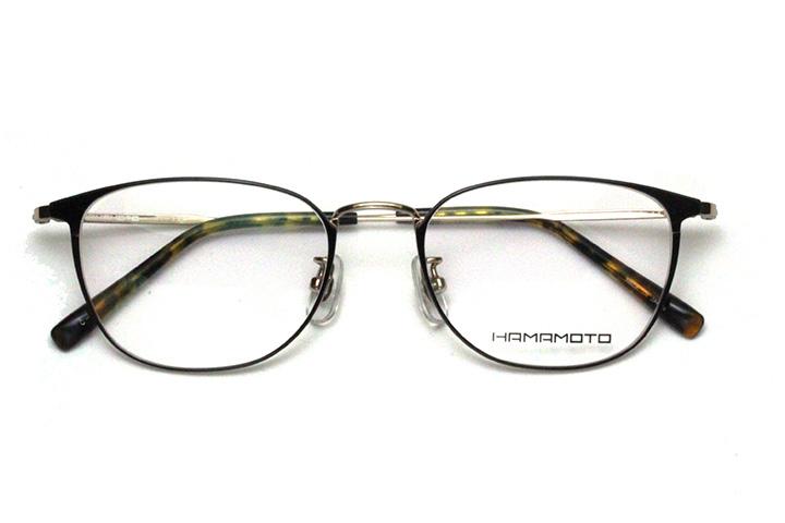 薄型レンズ付メガネセット Hamamoto ハマモト HT 324-1 ブラック/ゴールド【男性用】【日本製】【軽量フレーム】