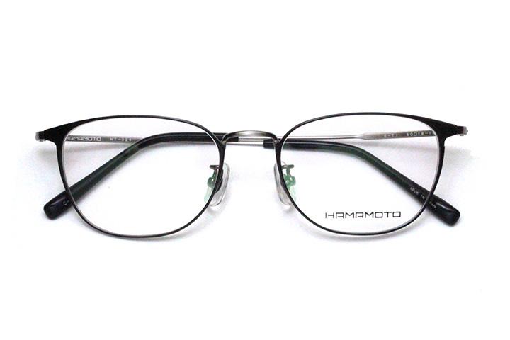 薄型レンズ付メガネセット Hamamoto ハマモト HT 324-2 ブラック/シャーリングシルバー【男性用】【日本製】【軽量フレーム】