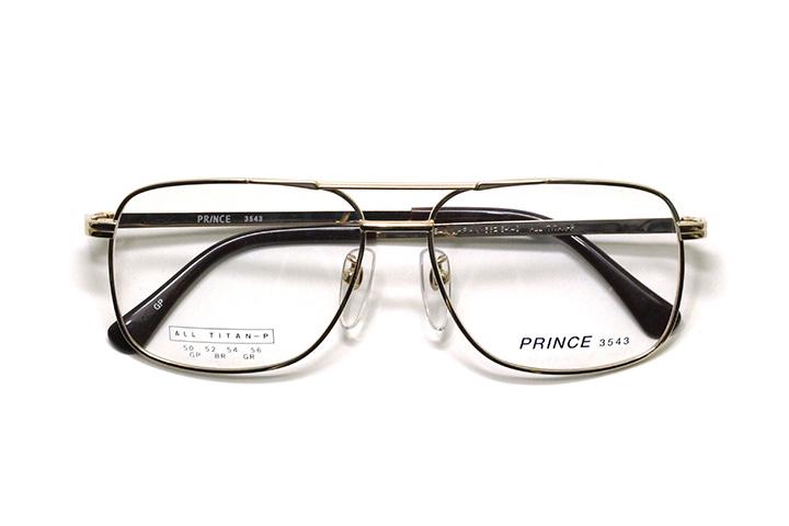 薄型レンズ付メガネセット オーソドックス紳士モデル ツーブリッジ プリンス 3543-GP(ゴールド) 56サイズ