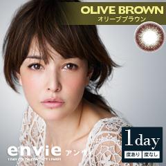 【1day】【カラー】envie(アンヴィ) オリーブブラウン 10枚入り×8箱セット[ジャパンゲートウェイ] イメージモデル「梨花」