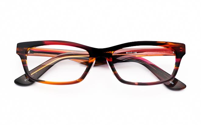 メガネ度付き/度なし YA634 2マーブルレッド(メガネケース・メガネ拭き付) メガネ/めがね/眼鏡/度付きメガネ/度入り/伊達メガネ/セルフレーム/セル