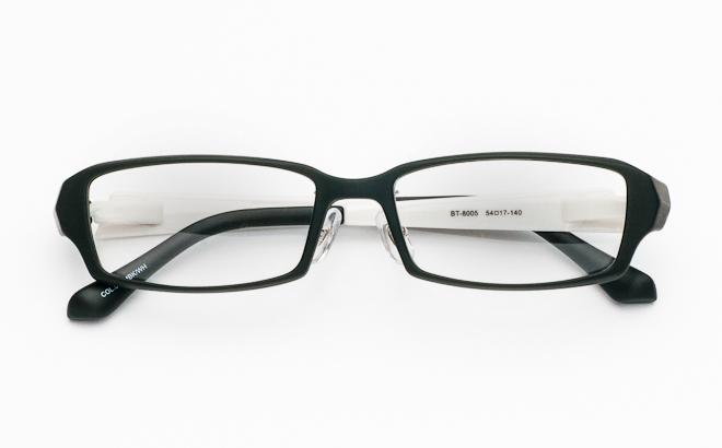 【送料無料】メガネ度付き/度なし BT-8005 5 マットブラック&ホワイト(TR90フレーム)【薄型レンズ追加料金0円】(メガネケース・メガネ拭き付) メガネ/めがね/眼鏡/度付きメガネ/度入り/伊達メガネ/セルフレーム/セル