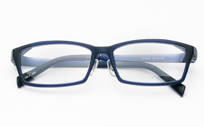 【送料無料】メガネ度付き/度なし BT-8006 4 マットネイビー(TR90フレーム)【薄型レンズ追加料金0円】(メガネケース・メガネ拭き付) メガネ/めがね/眼鏡/度付きメガネ/度入り/伊達メガネ/セルフレーム/セル