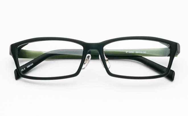 【送料無料】メガネ度付き/度なし BT-8006 5 マットブラック&グリーン(TR90フレーム)【薄型レンズ追加料金0円】(メガネケース・メガネ拭き付) メガネ/めがね/眼鏡/度付きメガネ/度入り/伊達メガネ/セルフレーム/セル