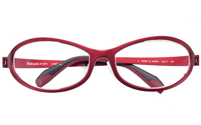 【送料無料】【薄型非球面レンズUVカット付き】「BetaplaSPORTSベータプラスポーツ」「14-6001 2RDレッド」(メガネケース・メガネ拭き付) メガネ/めがね/眼鏡/度付きメガネ/度入り/度あり