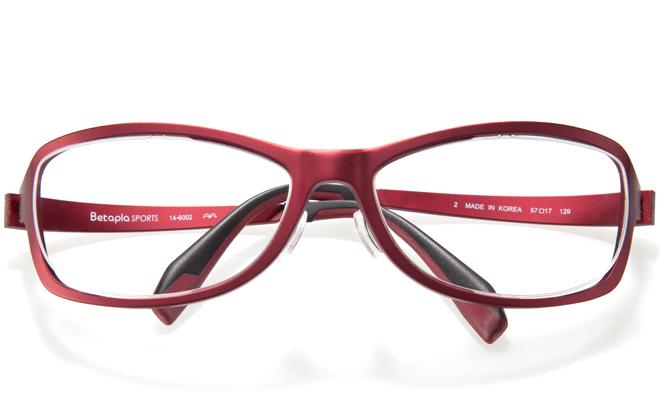 【送料無料】【薄型非球面レンズUVカット付き】「BetaplaSPORTSベータプラスポーツ」「14-6002 2RDレッド」(メガネケース・メガネ拭き付) メガネ/めがね/眼鏡/度付きメガネ/度入り/度あり