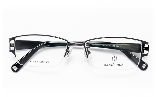 【送料無料】メガネ度付き/度なし Blessed-ONEブレッシードワン B-162 3(BK)ブラック【薄型レンズ追加料金0円】(メガネケース・メガネ拭き付) メガネ/めがね/眼鏡/度付きメガネ/度入り/伊達メガネ/ナイロール/眼鏡フレーム