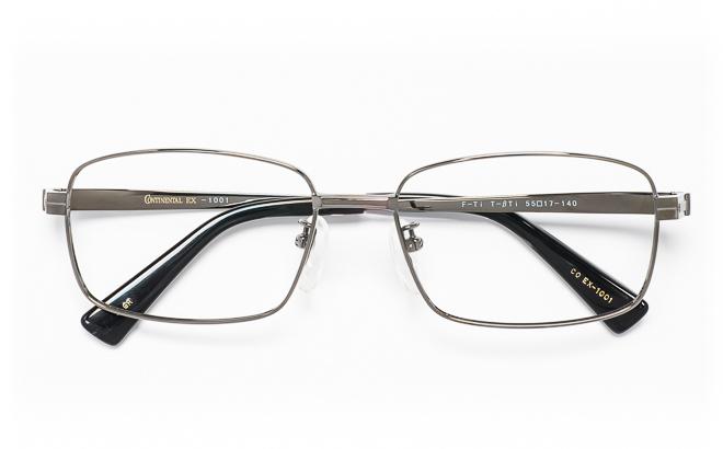 【送料無料】メガネ度付き/度なし CONTINENTAL EX コンチネンタルEX CO EX-1001 3(GR)グレー【薄型レンズ追加料金0円】(メガネケース・メガネ拭き付) メガネ/めがね/眼鏡/度付きメガネ/度入り/伊達メガネ