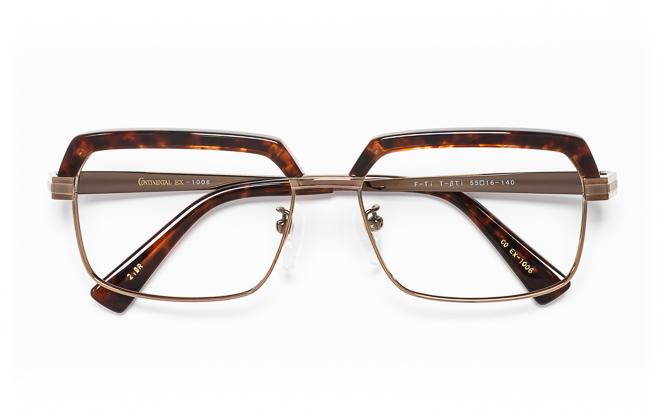 【送料無料】メガネ度付き/度なし CONTINENTAL EX コンチネンタルEX CO EX-1006 2(BR)ブラウン【薄型レンズ追加料金0円】(メガネケース・メガネ拭き付) メガネ/めがね/眼鏡/度付きメガネ/度入り/伊達メガネ