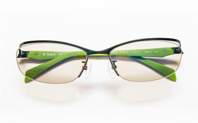 【送料無料】メガネ度付き/度なし H. Specs エイチスペックス HS-1001 2GNBKグリーン×ブラック【薄型レンズ追加料金0円】(メガネケース・メガネ拭き付) メガネ/めがね/眼鏡/度付きメガネ/度入り/伊達メガネ