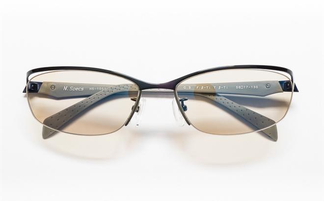 【送料無料】メガネ度付き/度なし H. Specs エイチスペックス HS-1001 3NVBLネイビー×ブルー【薄型レンズ追加料金0円】(メガネケース・メガネ拭き付) メガネ/めがね/眼鏡/度付きメガネ/度入り/伊達メガネ/ナイロール