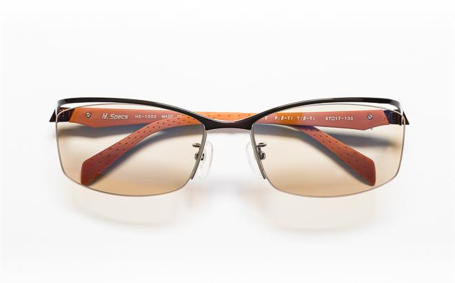 【送料無料】メガネ度付き/度なし H. Specs エイチスペックス HS-1002 2BRBKブラウン×ブラック【薄型レンズ追加料金0円】(メガネケース・メガネ拭き付) メガネ/めがね/眼鏡/度付きメガネ/度入り/伊達メガネ